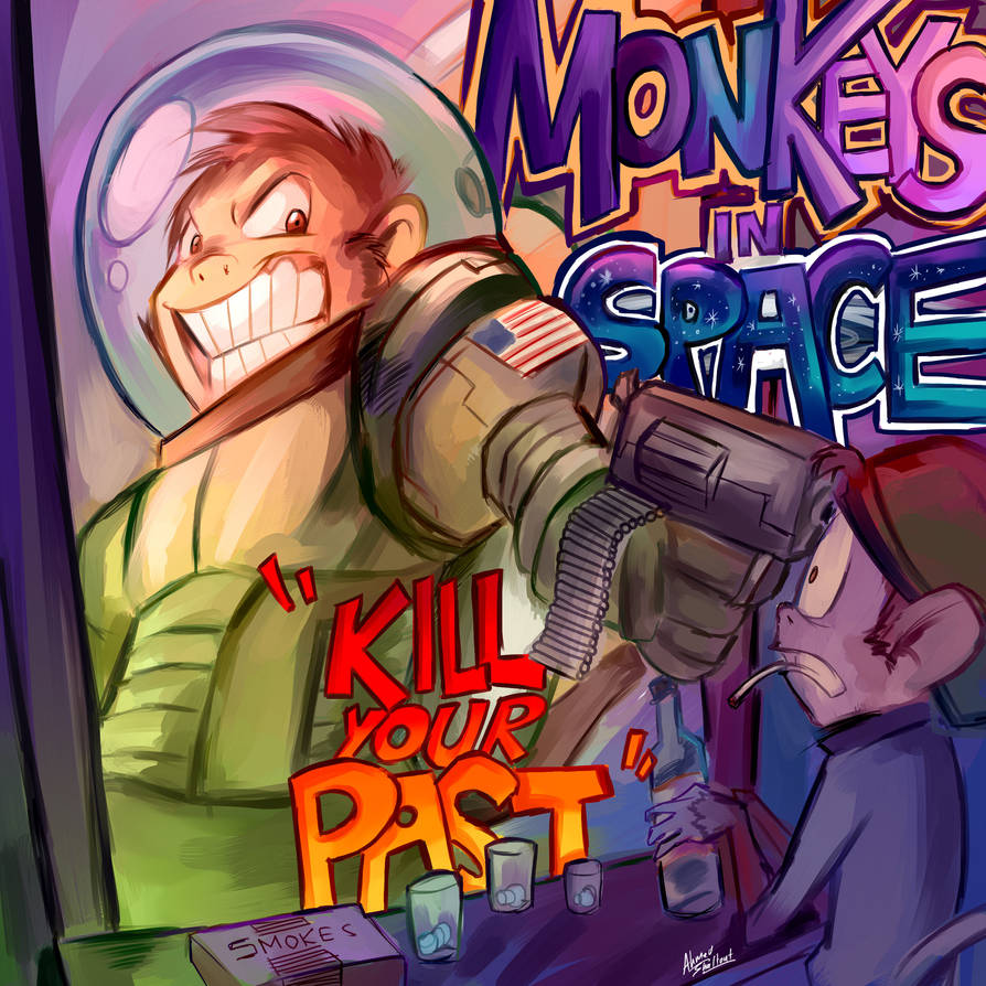 Monkeys in Space - Kill your Past - Cover Art by amorias