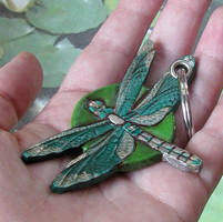 Green Dragonfly Keychain by Angelic-Artisan
