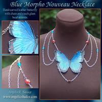 Blue Morpho Nouveau Necklace by Angelic-Artisan