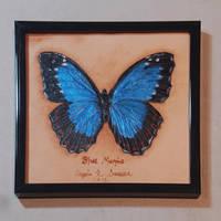 Blue Morpho 'Specimen' on Leather by Angelic-Artisan