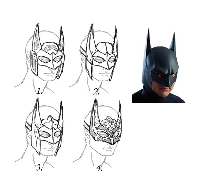 Dark Knight Mask Design Sketches by Angelic-Artisan