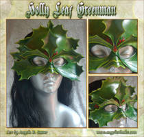 Variegated Holly Leaf Greenman Mask by Angelic-Artisan