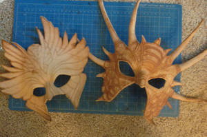 Dragon and Seraphim Masks WiP by Angelic-Artisan