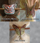 Leather Moth Brooches: Cecropia, Promethea, Luna by Angelic-Artisan