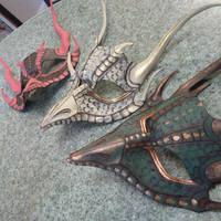 WiP Triplet Dragon Masks by Angelic-Artisan