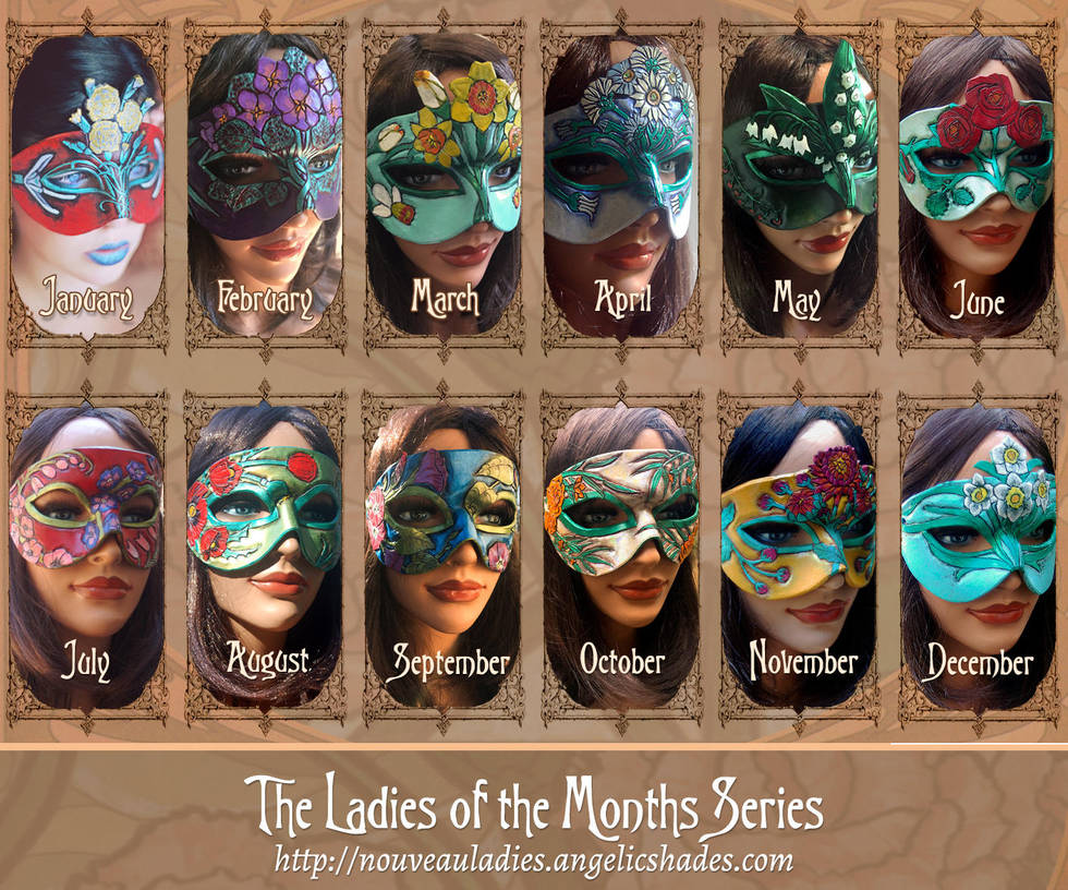 Ladies of the Months Mask Series by Angelic-Artisan