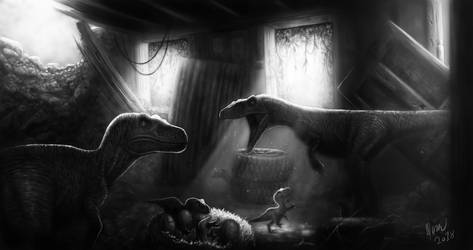Nesting Raptors by drmambo199