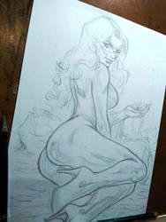 Black cat pencil Skethc by E-Blake