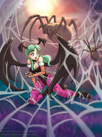 Morrigan Spider Bondage1 by StickyScribbles