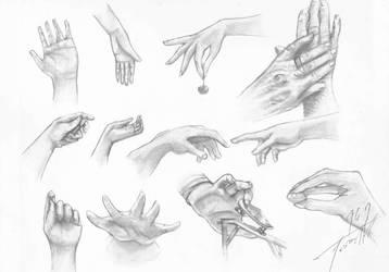 Sketch - Hand Studies by mikaelabrina