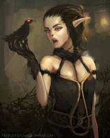 Raven Elf Thing.... by TheObliviousOwl