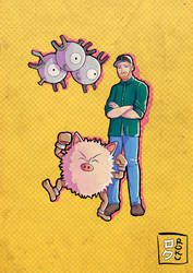 Pokemon commission: Ted with Magneton and Primeape by Kanimir