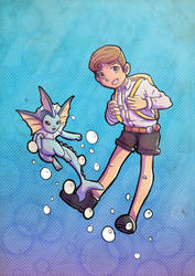 Pokemon Commission: Reece with his Vaporeon by Kanimir