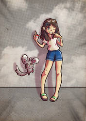 Pokemon commission: Alicia with Minccino by Kanimir