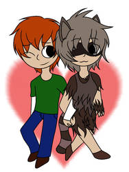 Boy and Raccoon Girl by ironicgiant