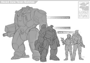 Hazard Zone Terran Sketches by Blazbaros