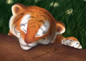 Tiggington - Tiger cub on log by Niameii