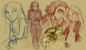 Mias and Elle sketch-a-doodles by StressedJenny