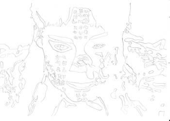 The uncolored face of Ahmanet by OlmoJV