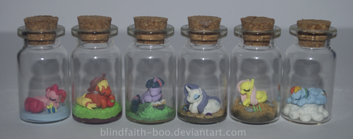 MLP main 6 tiny ponies by Blindfaith-boo