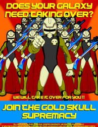 Gold Skull Supremacy Propaganda poster by spikerman87