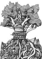 Treehouse A5 Ink drawing by shenj010