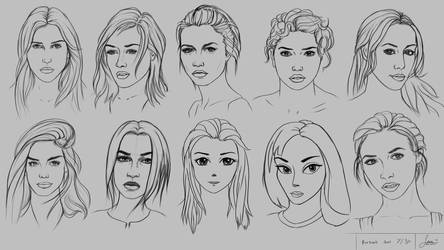 Drawing 10 Portraits using 10 Different Methods by rainwalker007