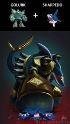 Pokemon Fusion - Golurk + Sharpedo by JaimeGervais