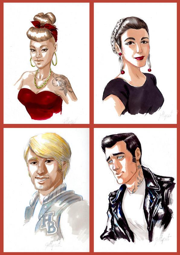 Originaux portraits Rockabilly by lejellycat