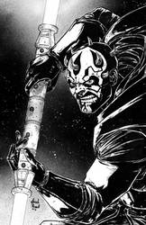 Darth Maul pencil and ink by BanebrookStudios