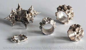 3D printed Fractal Silver Ring Collection by MANDELWERK