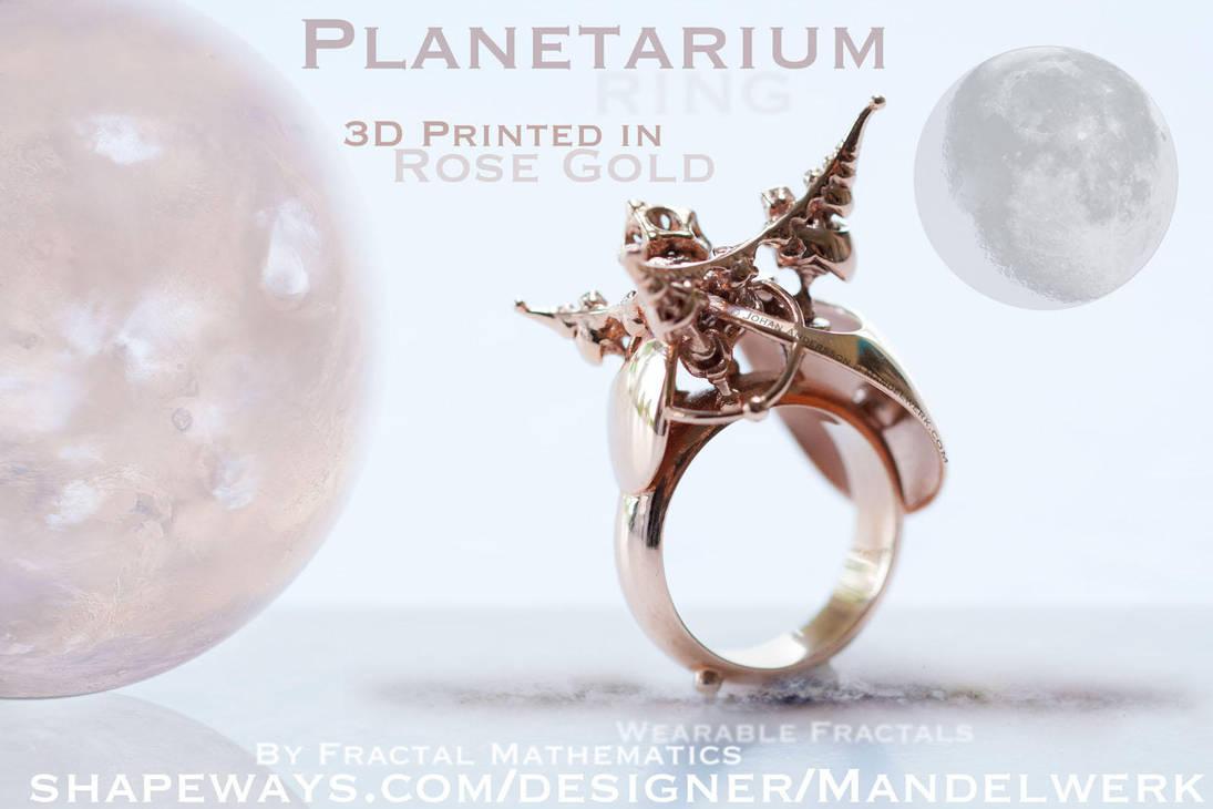 3D Printed - PLANETARIUM Ring - Rose Gold Plated by MANDELWERK