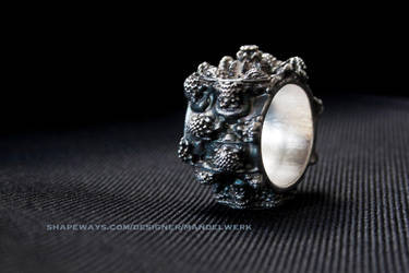 MANDELBULB Ring - Patinated Silver 3D print by MANDELWERK