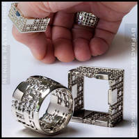 Menger Matrix Rings - Sterling Silver by MANDELWERK