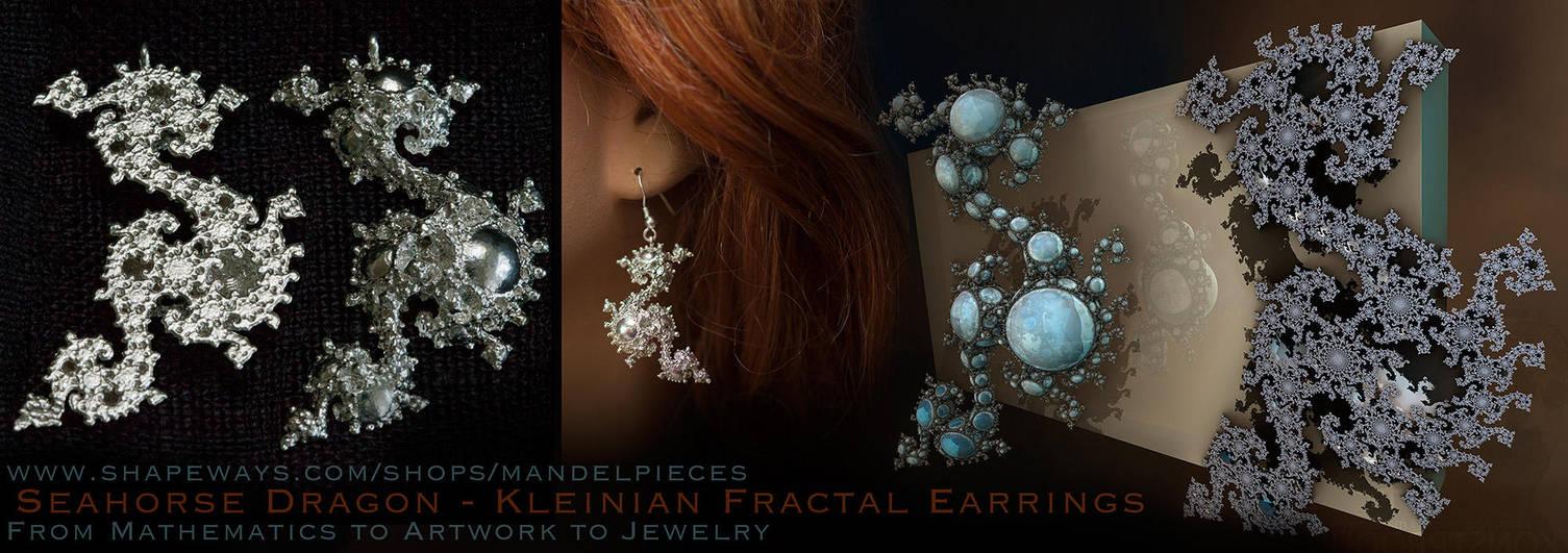Seahorse Dragon Earrings - Keinian Fractal by MANDELWERK
