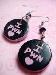 I PWN Gamer Girl Earrings by Erisana