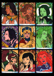 Women of Legend Sketchcards 02 by Guy-Bigbelly