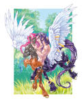 Pegasuskentaur and his Faun lover by ConnyChiwa