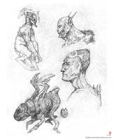 Demonations + creature sketch by MIKECORRIERO