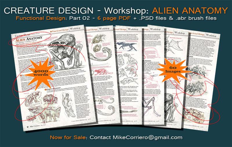 Creature Design Workshop: Alien Anatomy Part 02 by MIKECORRIERO