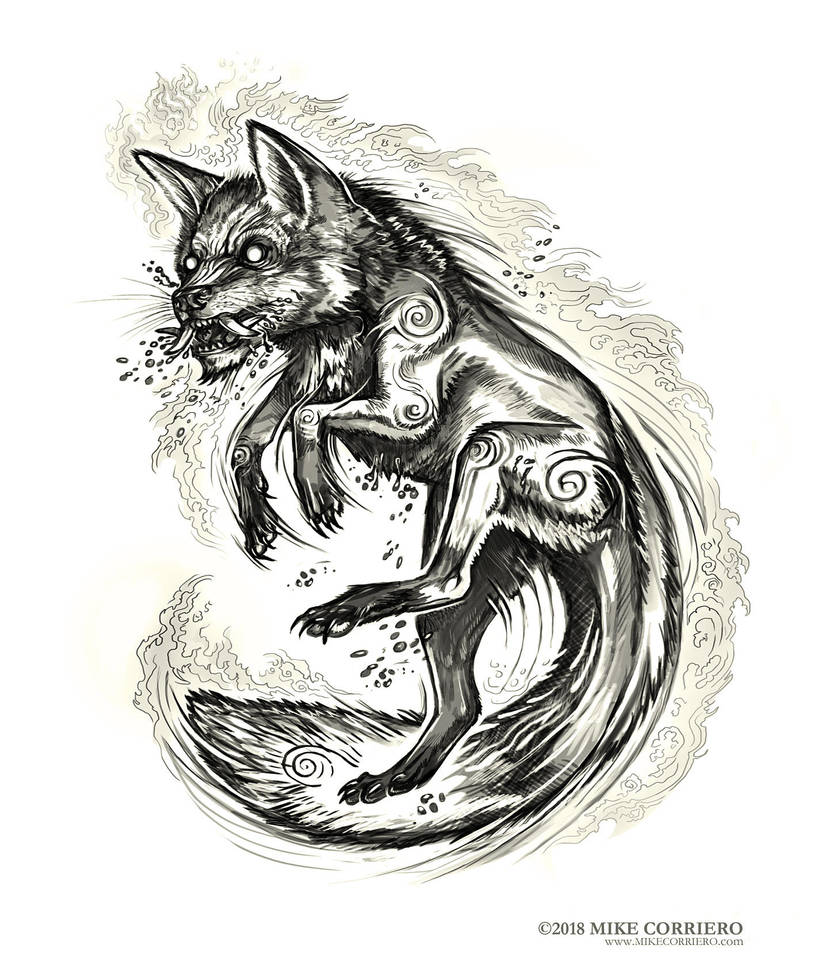 Demon Fox Tattoo commission by MIKECORRIERO