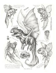 Creature Sketch Page Tiny Dragons by MIKECORRIERO