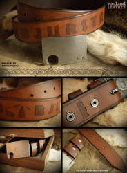 Custom Hand Carved Leather Belt by chadvonlind