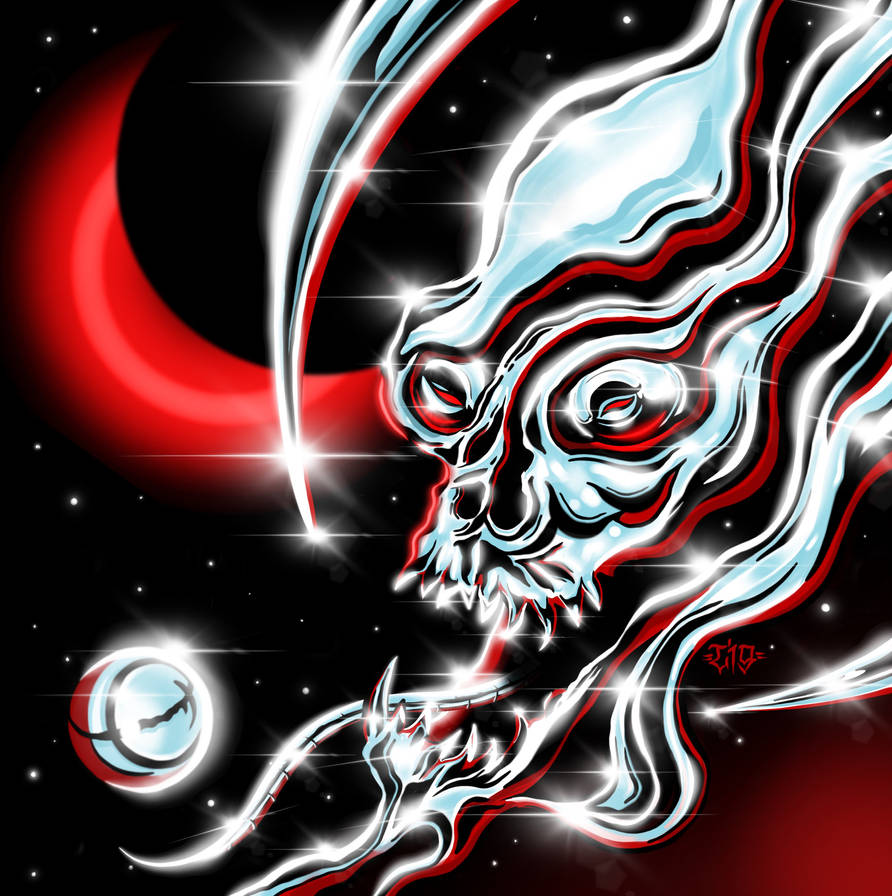 Chrome Liquid Space Skull by Loopeznik