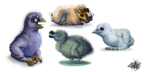 Fuzzy Baby Bird concepts by BudgieBluBird
