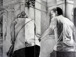A Helping Hand, 2015, 50-65cm, graphite crayon by oanaunciuleanu
