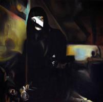 Left standing, 2013, 100-100cm, oil on canvas by oanaunciuleanu