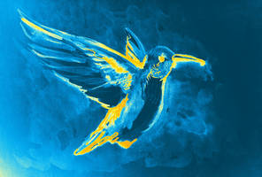 Watercolor of hummingbird by oanaunciuleanu