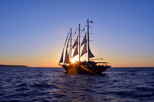 Romantic cruise ship with veils on the Aegean Sea by oanaunciuleanu