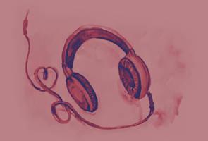 Watercolor of headphones. Music love by oanaunciuleanu
